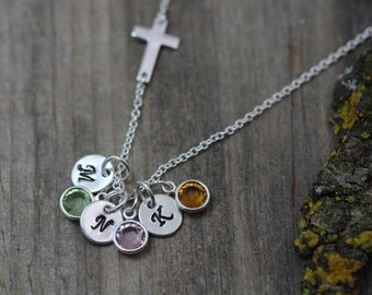 Sterling silver Sideways Cross Necklace. Custom initial Birthstones, Engraved Necklace, Grandma gift, Popular Mother gift, Mothers Necklace