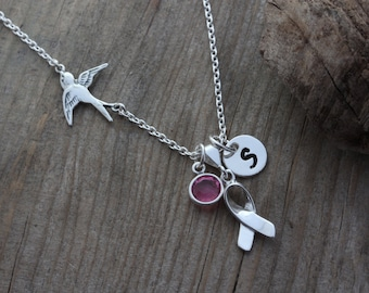 Sterling silver Cancer Ribbon pendant, Cancer Awareness Necklace, Cancer Free Flying Bird Survivor. Cancer awareness Personalized Necklace.