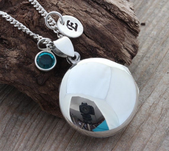 Personalized Solid Sterling silver Locket -  Handmade Heirloom Locket-Round Locket Necklace Disc Initial Sterling Silver & Birthstone. R-3