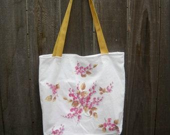 Vintage Fabric Market Bag, Tote Bag, Repurposed Vintage Tablecloth, Wilendur-Like