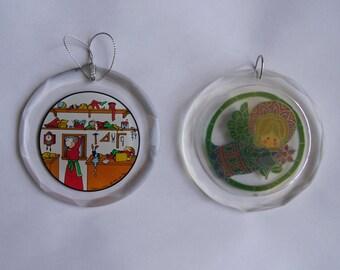 Vintage Christmas Ornaments - Acrylic Ornaments, Angel Ornament, Santa Claus House Ornament, Alaska North Pole Souvenir, Christmas Decor