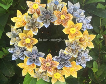 "Sunny Days / Origami Paper Flower Wreath 10""/Wedding decorations, paper flowers, origami flower, kusudama, origami wreath, paper wreath"