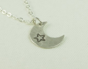 Moon Charm - Star Charm - Hand Cut - Hand Hammered - Hand Stamped - Sterling Silver - 14k Gold Fill