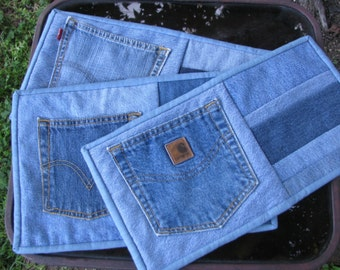 Quilted Denim Snack Mats - Pot Holders - Hot Pads