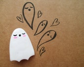Ghost Brooch, Cute and Creepy, Polymer Clay Badge, Kawaii, Spooky, Spoopy, Pin