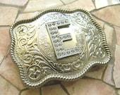 Monogram Letter E Personalized Silver Belt Buckle, Rhinestone Initial E Monogrammed Womens Mens Kids Western Belt Buckle, Custom Belt Buckle
