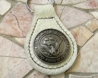 Navy Seal Keychain, US Navy Key Fob, Key Ring, Key Chain, Groomsmen Gift,Military Navy Gift, Navy Mom Wife Girlfriend Dad Cow Hide Key Chain