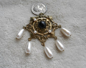 Vintage Pin-Victorian Dangle Style -With Faux Pearl accents-P4032