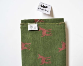 Baby boy deer blanket. Green / brown / deer / by Lippy brand. Boy swaddle. baby wrap. swaddling blanket. stretchy knit fabric. Fawn.