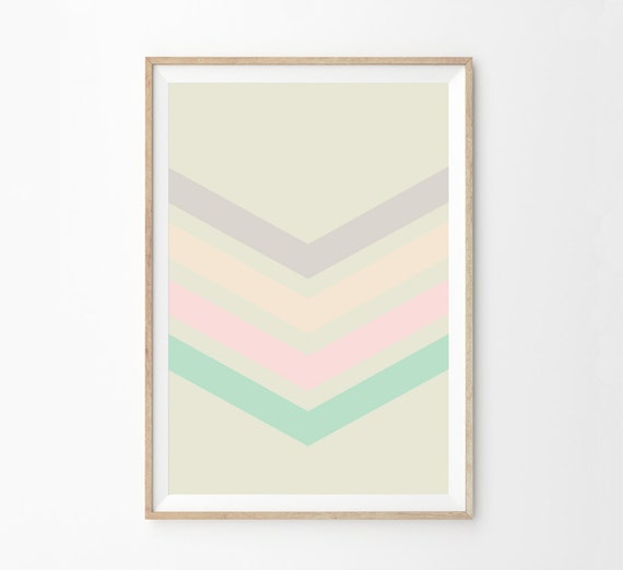 Chevron Girls Room Wall Art Print | Pastel Color Block Chevron Print Home Decor | Girls Pink Nursery Decor | Minimalist Decor Art Print