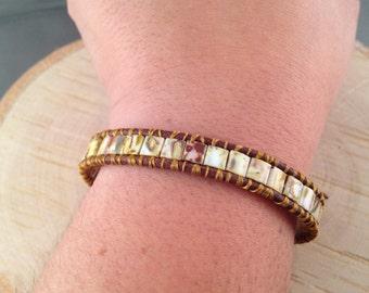 Sale - Opaque Picasso Tila Beads Wrapped Leather Bracelet, Chan Luu Style Bracelet, Bohemian Jewelry