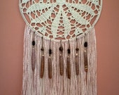 Crochet Wall Decor with Sea Urchin Spines and Yarn Fringe