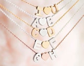 Tiny Alphabet Heart Charm Necklace, Gold / Silver / Pink Gold, Uppercase Capital A - Z, Personalized Bridesmaid Gift, Love Jewelry, WJ ij lj