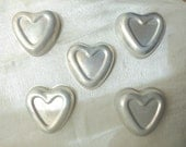 Cookware Aluminum Molds, Heart Single Jello Molds,  Five Vintage Aluminum Hearts, Personal Pan Cake, Crafting Supplies, Craft Heart Pans