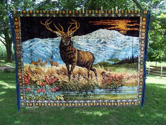 Large Vintage Velvet Tapestry Rug Wall Hanging Of A Stag Elk