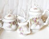 antique french teapot vintage tea set antique tea set white porclain tea pot french porcelain vintage cream set