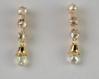 Charming Victorian 1.60 Ct briolette diamond and more drop earrings