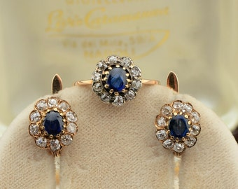 Rare Victorian natural sapphire and diamond trio set ring and earrings