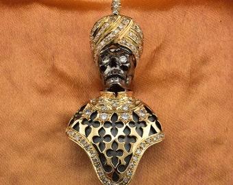 Rare Venetian black moor memento mori  2.00 Ct diamond vintage moretto brooch
