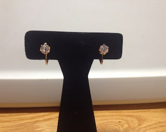 Vintage Goldtone With White Gemstone Clip On Design Earrings