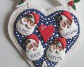 Santa's Family Heart for a family of 4, Personalized Family Christmas Ornament, Polymer Clay Ornament, Family Ornament, Christmas Ornament
