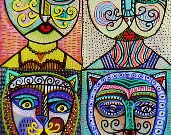 Vintage Cat Ladies )( 11x14 in.- SILBERZWEIG ORIGINAL PAINTING - Tribal Mask- Señora Frida Del Gato - Mexican Carnival Goddess Kitten Angel