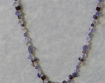 Shades of Pink and Purple Crystal and Seed Bead Moon Necklace