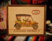 Vintage Embroidered Art of a 1909 Studebaker Suburban A