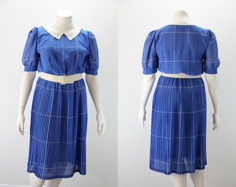 Large - XL Vintage Dress - Sweet Blue and White