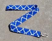 Blue & White. quatrefoil. Designed Fabric Lanyard. Blue Fabric Keychain. Girls. Blue Key Fob Teal ID. Badge Holder