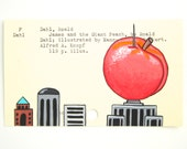 James and the Giant Peach Library Card Art - Print of my painting on library card catalog card