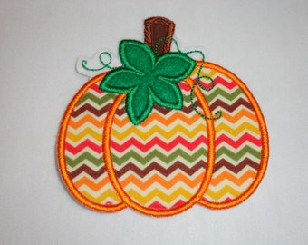 Pumpkin Patch, Pumpkin Iron On, Multi-colored Fall Chervon Pumpkin Iron On Patch