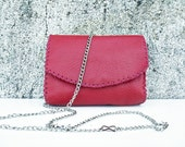 crossbody small messenger bag in pure Italian leather, long metal chain, boho chic for women and girls, handmade ONE OF A KIND, gift idea