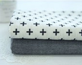 Petit Cross Cotton Linen Fabric and Coordinating Solid - Plus Sign Geometric - By the Yard 81297