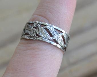 Unusual antique edwardian art deco sterling silver cigar band ring with floral design / orange blossom / BDSAOO