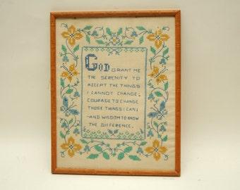 Vintage Cross Stitch Serenity Prayer Flowers 1970s Turquoise
