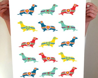 Dachshund Art , Swedish Dala Dachshunds,  Dachshunds, Swedish Dala Horses, Wiener Dog Art, Swedish Horses, Swedish Dogs, Swedish Art,