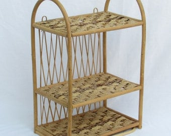stylish and versatile 3tier wicker and bamboo shelf free standing or wall hanging