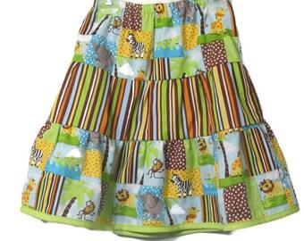 Ruffle Skirt - Girls Ruffle Skirt  - Girls Green Skirt - Girls Modest Skirt - Girl's Clothes - Girls Dress - Kids Clothes - size 5
