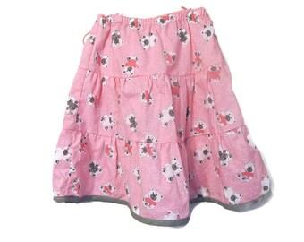 Girls Pink Skirt - Young Girls Ruffle Skirt - Modest Skirt - Girls Fashion Skirt - Girls Boutique Skirt- Pink Twirly Skirt - Size 5