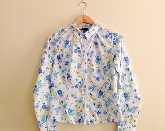 Vintage Jordache Wallpaper Print Floral Cowgirl Blouse // Retro Blue & Green Flower Shirt // Hipster Button Down // Indie / Long Sleeve 90s