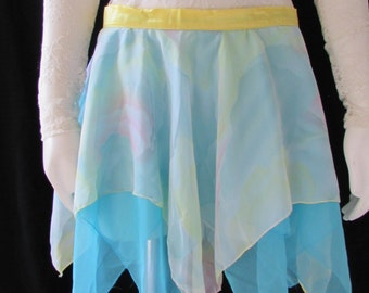 Chiffon Handkerchief Skirt  short, Velcro waistband Blue Yellow White costume /womans/ girls/ teenagers