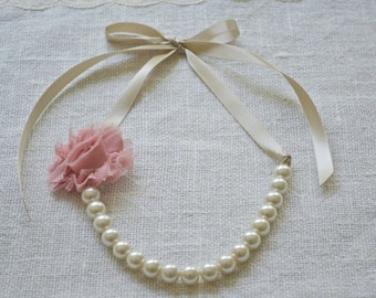 Rose: Pearl and Ribbon Tie Necklace - Ivory Pearls, Champagne Ribbon, Dusty Rose Flower - Bridal, Bridesmaid