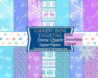 Winter Digital Paper With Free Glitter Snowflake Clipart, Frozen Nordic Paper - Commercial Use OK