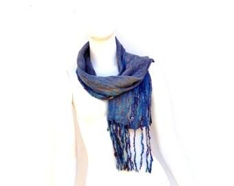 Grey Nuno Felted Silk Textured Scarf Fringed
