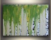 "24"" Birch Tree Painting ORIGINAL Painting, Landscape Painting Green Modern Art by Tatjana Ruzin, Abstract Art Painting Oil Painting Wall Art"