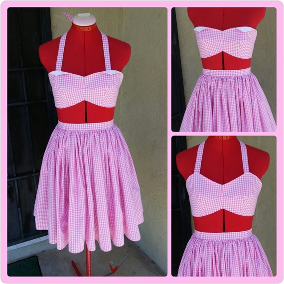 Halter Bra Top and Skirt Set -Vintage 50's Reproduction- made from vintage 50's pattern-custom made to order in Sz S-M-L