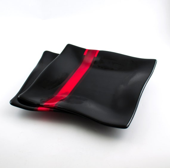 Black And Red Glass Dinnerware Set Fused Glass Dinner Plates