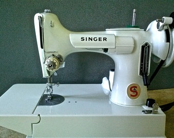 White Singer Featherweight Sewing Machine
