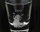 Boo Ghost Horror Illustration Design Etched Shot Glass Halloween Gift Cute Spooky